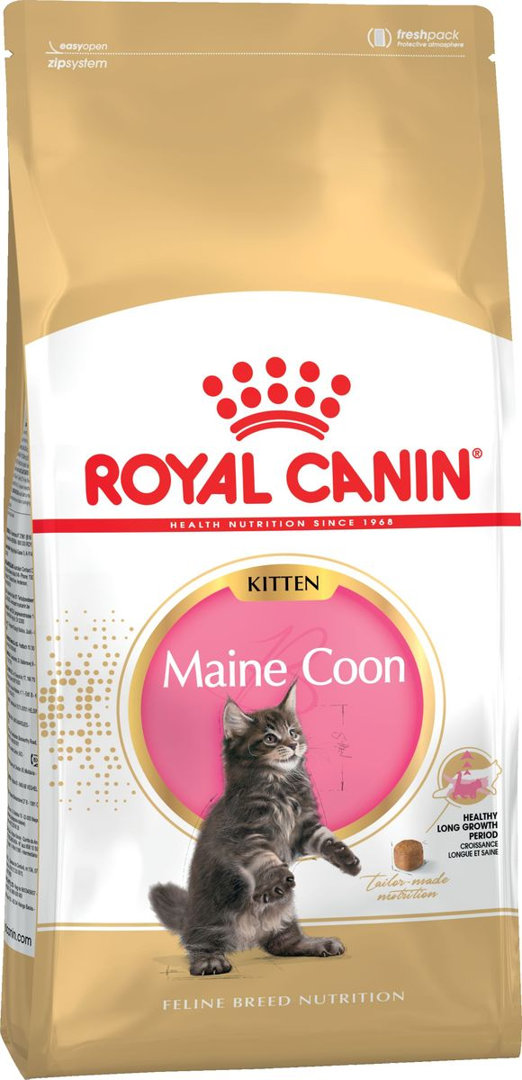 Корм сухой Royal Canin Kitten Maine Coon, для котят породы мейн-кун в возрасте до 15 месяцев, 10 кг64770ИНГРЕДИЕНТЫДегидратированное мясо птицы, животные жиры, рис, изолят растительных белков*, кукуруза, пшеничная мука, гидролизат белков животного происхождения, растительная клетчатка, свекольный жом, дрожжи и побочные продукты брожения, рыбий жир, соевое масло, фруктоолигосахариды, минеральные вещества, оболочки и семена подорожника, гидролизат дрожжей (источник мaннановых олигосахаридов), масло огуречника аптечного, экстракт бархатцев прямостоячих (источник лютеина), гидролизат панциря ракообразных (источник глюкозамина), гидролизат хряща (источник хондроитина).* L.I.P. (Low Indigestible Protein) - белки, отобранные по принципу максимальной усвояемости.ПИТАТЕЛЬНЫЕ ДОБАВКИ (В 1 КГ)витамин A: 33500 МЕ, витамин D3: 900 МЕ, витамин E: 670 мг, E1 (железо): 34 мг, E2 (йод): 3,4 мг, E4 (медь): 10 мг, E5 (марганец): 44 мг, E6 (цинк): 131 мг, E8 (селен): 0,07 мг – технологические добавки: клиноптилолит осадочного происхождения: 10 г – консерванты – антиоксиданты.СОДЕРЖАНИЕ ПИТАТЕЛЬНЫХ ВЕЩЕСТВбелки: 36 %, жиры: 23 %, минеральные вещества общие: 8,2 %, клетчатка общая: 2,8 %, кальций: 1,31 %, фосфор: 1,15 %.