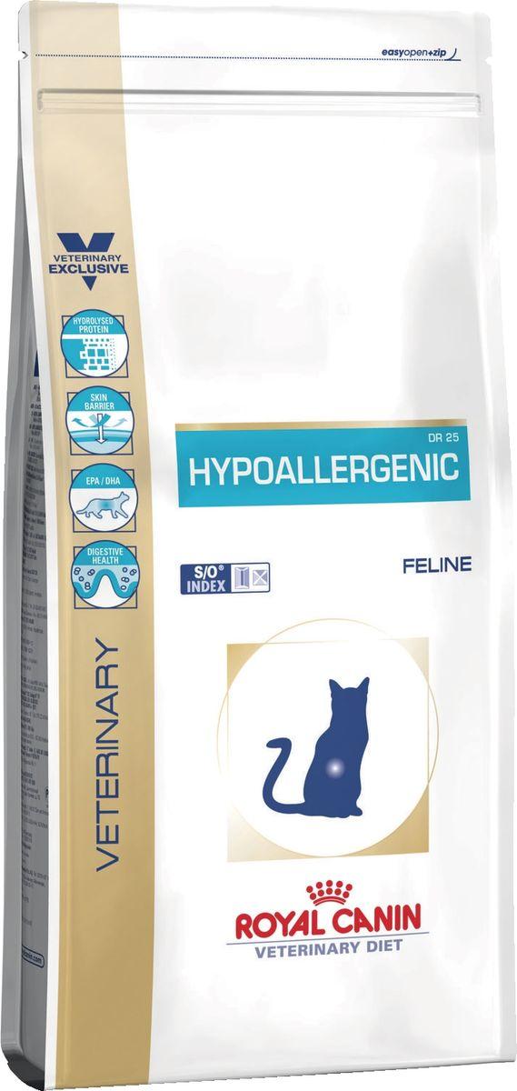 Корм сухой Royal Canin Vet Hypoallergenic Dr25, для кошек при пищевой аллергии/непереносимости, 2,5 кг сухой корм royal canin hypoallergenic dr21 canine диета при пищевой аллергии для собак 2кг 602020