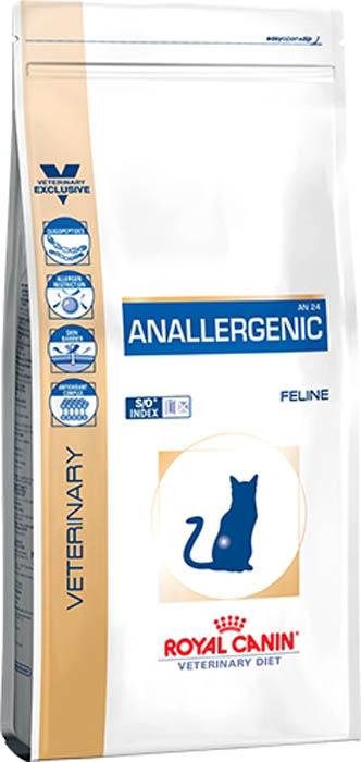 Корм сухой Royal Canin Anallergenic, для кошек при пищевой аллергии или непереносимости с ярко выраженной гиперчувствительностью, 2 кг66622Показания:Нежелательная реакция на корм (НРК), проявляющаяся нарушениями со стороны кожного покрова и/или пищеварительного тракта:- диагностика: исключающая диета первого выбора- ТерапияАтопический дерматит кошек, ассоциированный с НРКВоспалительные заболевания кишечника (IBD)Противопоказания:Беременность, лактация, ростДлительность курса применения:Если предполагается аллергия алиментарной природы или непереносимость корма, корм AnallergenicFeline может быть назначен на протяжении всей жизни животного. На данный корм можно переводить кошку сразу, без постепенного перехода. Олигопептиды Корм содержит в своем составе только свободные аминокислоты и олигопептиды с низким молекулярным весом, получаемые из высококачественного гидролизата перьевой муки. Исключение аллергенов Для исключения аллергогенности в рецептуре корма используется чистый кукурузный крахмал в качестве единственного источника крахмала. Благодаря особенностям производства, корм обладает высокой вкусовой привлекательностью, а также исключается контаминация другими видами белков, которые могут спровоцировать аллергическую реакцию. Барьерная функция кожи Сочетание никотинамида, инозитола, холина, гистидина и пантотеновой кислоты усиливает защитные функции кожи и предотвращает ее излишнюю сухость. Комплекс антиоксидантов Комплекс антиоксидантов синергичного действия уменьшает окислительный стресс и помогает нейтрализовать свободные радикалы.* Ориентируйтесь на суточный рацион, указанный на упаковке продукта СОСТАВКукурузный крахмал, низкомолекулярный гидролизат белка пера птицы (источник L-аминокислот и олигопептидов), кокосовое масло, соевое масло, растительная клетчатка, минеральные вещества, животные жиры, рыбий жир, жом цикория, фруктоолигосахариды, мальтодекстрин, моно- и диглицеридыжирных кислот, этерифицированные лимонной кислотой, декстроза, экстракт бархатцев п
