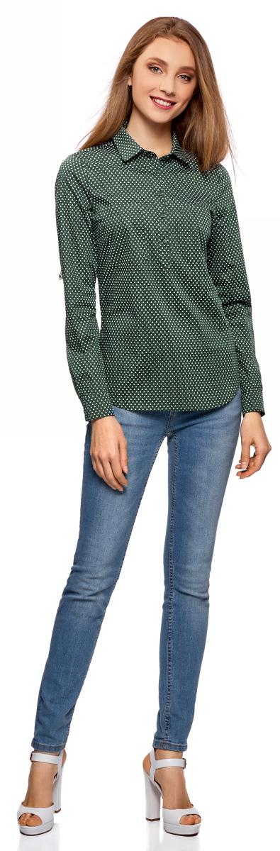 Рубашка женская oodji Ultra, цвет: темно-зеленый, белый. 11403222B/42468/6910G. Размер 42 (48-170)