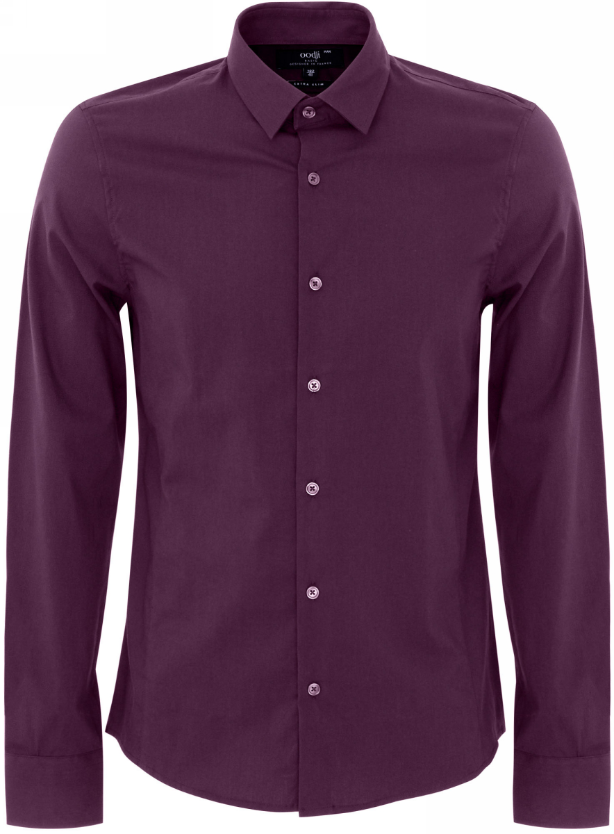 Рубашка мужская oodji Basic, цвет: темно-фиолетовый. 3B140000M/34146N/8800N. Размер 39 (46-182)3B140000M/34146N/8800NМужская рубашка oodji Basic изготовлена из хлопка с добавлением полиамида и эластана. Классический воротничок с острыми углами, манжеты с пуговицами, застежка на пуговицы спереди по всей длине. У рубашки слега приталенный силуэт, ее можно носить заправленной или навыпуск. Оптимальное соотношение хлопка и синтетики: не мнется, прекрасно держит форму и дает коже возможность дышать. В такой рубашке комфортно в течение всего дня. Элегантная рубашка станет основой для делового гардероба. Она хорошо сочетается с прямыми и зауженными брюками. Для создания строгого образа рубашку можно дополнить классическим или спортивным пиджаком, или же в качестве второго слоя выбрать трикотажный кардиган. С этой рубашкой вы можете создать разные деловые луки. Они всегда будут отвечать строгому дресс-коду. Из обуви предпочтение рекомендуется отдавать классическим моделям туфель.