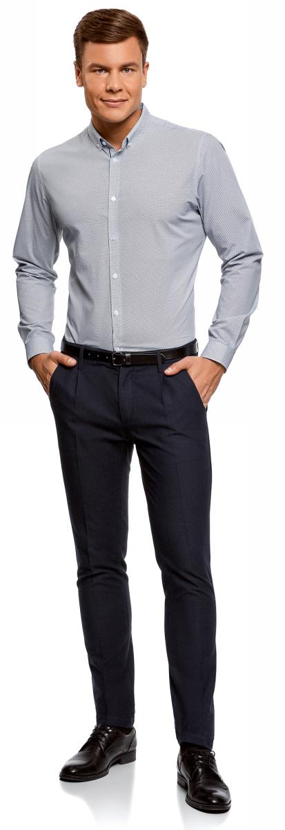 Рубашка мужская oodji Lab, цвет: белый, темно-синий. 3L110261M/19370N/1079G. Размер 41 (50-182)3L110261M/19370N/1079GМужская рубашка oodji с длинными рукавами изготовлена из натурального хлопка. Рубашка застегивается на пуговицы. Манжеты рукавов и воротник дополнены застежками-пуговицами.