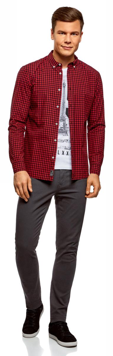 Купить Рубашка мужская oodji Lab, цвет: черный, красный. 3L310148M/39511N/2945C. Размер L (52/54-182)