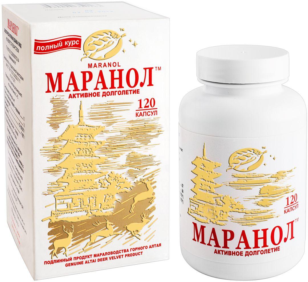 Активное долголетие, замедление процессов старения, Маранол капс. 200 мг. №12000000001759Маранол - биологически активный профилактический препарат, в состав которого входят одновременно панты знаменитого на весь мир алтайского марала и его кровь, удивительная по своим оздоровительным свойствам.Препарат пополняет запасы жизненной энергии и помогает сохранять отличное самочувствие, ясность ума и активность до преклонных лет.Область применения: в качестве геронтопротектора в комплексной терапии сердечно-сосудистых заболеваний, сахарного диабета 2 типа, синдрома хронической усталости и стресс-индуцированных заболеваний.Порошок пантов алтайского марала, пантогематоген, витамин С, витамин Е, глюкоза.Товар не является лекарственным средством. Товар не рекомендован для лиц младше 18 лет. Могут быть противопоказания и следует предварительно проконсультироваться со специалистом.Товар сертифицирован.