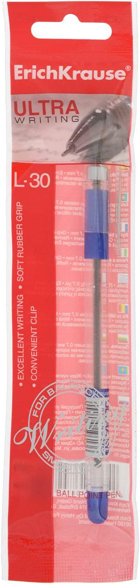 Ручка шариковая Erich Krause Ultra L-30, цвет: синийEK13879Шариковая ручка Erich Krause Ultra L-30 станет незаменимым атрибутом учебы или работы. Прозрачный корпус позволяет контролировать уровень расхода чернил, а прорезиненная вставка в области обхвата предотвращает скольжение пальцев во время работы. Ручка дает аккуратную четкую линию и обеспечивает превосходное качество письма. Чернила быстро сохнут и не размазываются. Характеристики:Материал корпуса: пластик, металл, резина. Толщина линии: 0,7 мм. Цвет чернил: синий. Длина ручки: 15 см. Изготовитель:Индия.