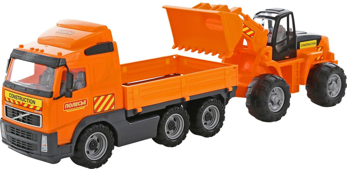 Полесье Грузовик бортовой Volvo и трактор-погрузчик машина детская полесье полесье набор автомобиль трейлер трактор погрузчик