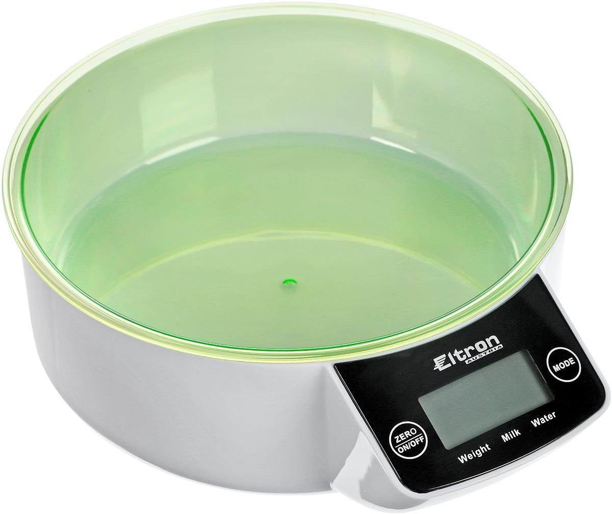Весы кухонные  Eltron , электронные, с чашей, цвет: зеленый, белый, до 5 кг. 9257EL - Кухонные весы