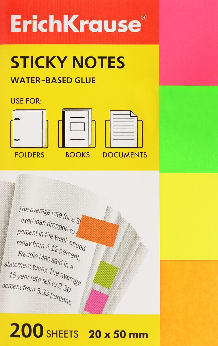 Бумага для заметок Erich Krause, с липким слоем, 200 листов, 2 см х 5 см brauberg бумага для заметок с липким слоем 7 6 х 7 6 см цвет зеленый 90 листов