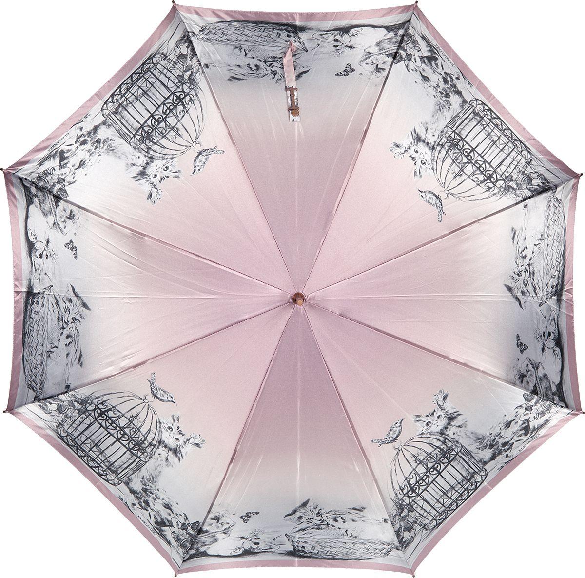 Зонт-трость женский Eleganzza, полуавтомат, цвет: розовый. T-06-0326