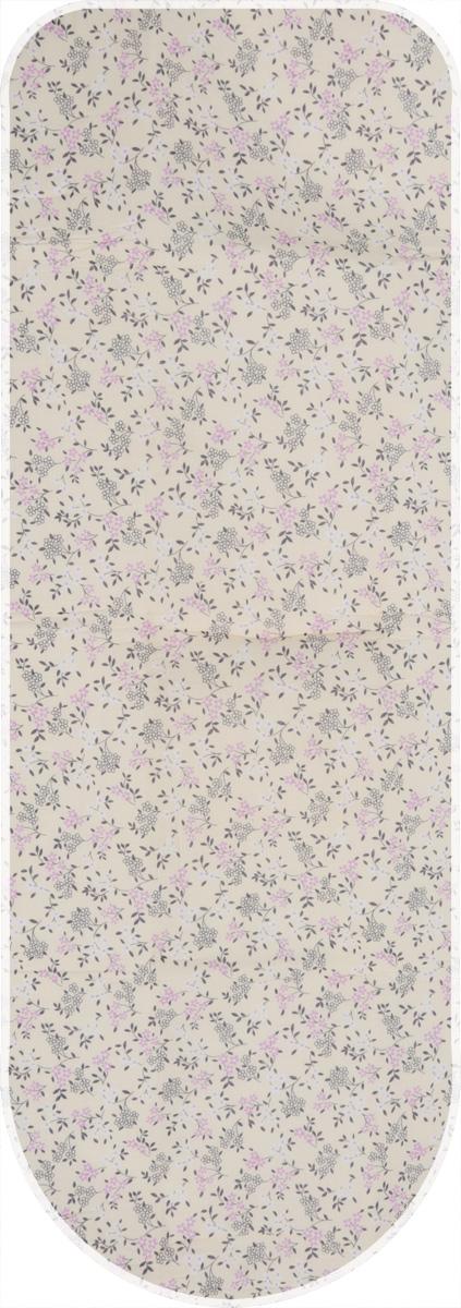 Чехол для гладильной доски Paterra  Цветы , с поролоном, цвет: кремовый, сиреневый, 146 х 55 см -  Гладильные доски