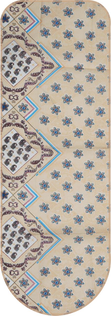 Чехол для гладильной доски Detalle, универсальный, цвет: бежевый, голубой, 125 х 47 смЕ1301_бежевый/мелкие цветыУниверсальный чехол для гладильной доски Detalle, выполненный из хлопка с подкладкой из мягкого войлокообразного полотна (ПЭФ), предназначен для защиты или замены изношенного покрытия гладильной доски. Чехол снабжен стягивающим шнуром, при помощи которого вы легко отрегулируете оптимальное натяжение чехла и зафиксируете его на рабочей поверхности гладильной доски.Из войлокообразного полотна вы можете вырезать подкладку любого размера, подходящую именно для вашей доски. Этот качественный чехол обеспечит вам легкое глажение. Он предотвратит образование блеска и отпечатков металлической сетки гладильной доски на одежде. Войлокообразное полотно практично и долговечно в использовании. Размер чехла: 125 x 47 см.Максимальный размер доски: 120 х 42 см.Размер войлочного полотна: 130 х 52 см.