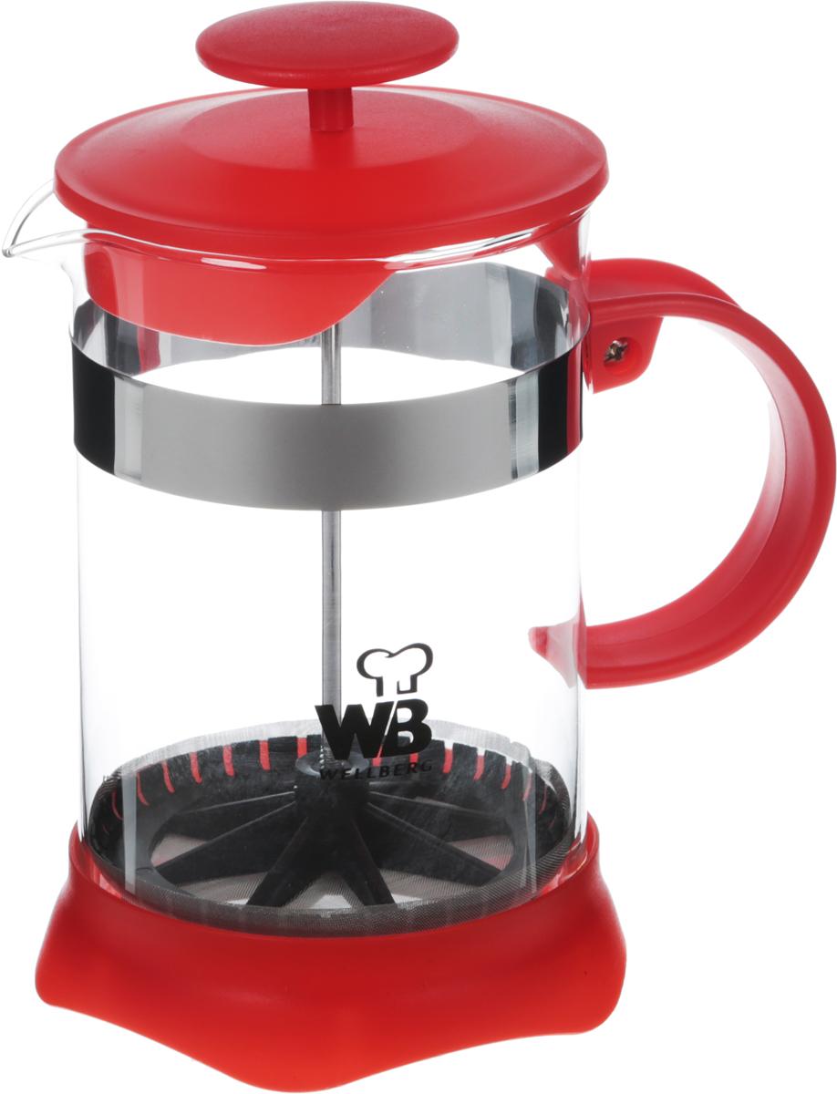 Френч-пресс Wellberg, цвет: красный, 800 мл. 9935 WB9935 WBФренч-пресс Wellberg поможет приготовить вкусный иароматный чай или кофе. Колба изготовлена изтермостойкого стекла и закреплена стальным обручем.Основание, ручка и крышка выполнены из пластика.Утолщенный ободок колбы повышает прочность ипродлевает срок службы изделия. Форма края носикапрепятствует образованию подтеков. Плотно прилегающаякрышка позволяет надолго сохранить аромат напитка.Фильтр-поршень из нержавеющей стали обеспечиваетравномерную циркуляцию воды и насыщенность напитка. Сего помощью также можно регулировать степень крепостинапитка. Засыпая чайную заварку или кофе под фильтр, заливаягорячей водой, вы получаете ароматный напиток соптимальной крепостью и насыщенностью. Остановитьпроцесс заваривания легко, для этого нужно просто опуститьпоршень, и все уйдет вниз, оставляя вверху напиток, готовыйк употреблению.Высота френч-пресса: 17 см. Диаметр колбы (по верхнему краю): 10 см. Диаметр основания: 11 см.