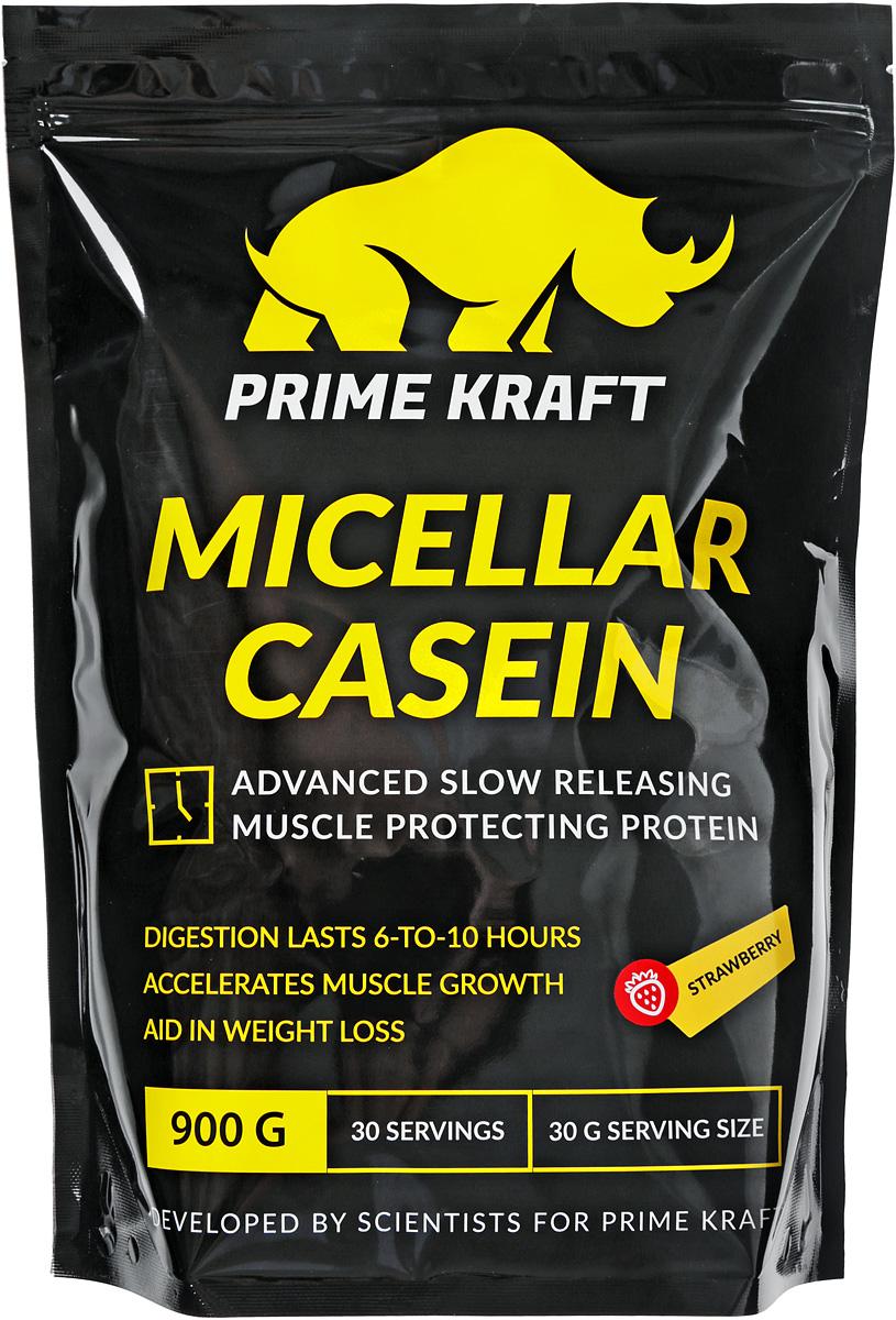 Казеин Prime Kraft Micellar Casein, клубника, 900 г протеин prime kraft whey клубника банан