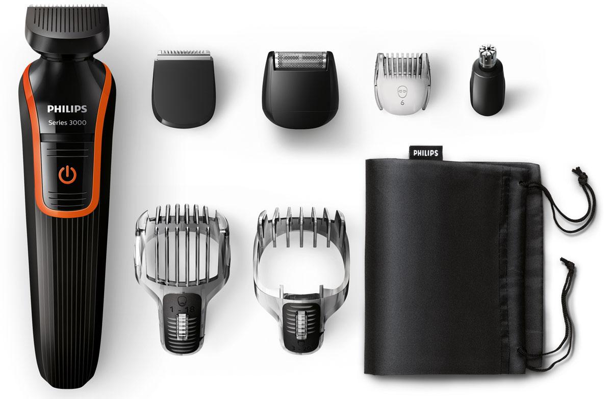 Philips QG3340/16 триммер для волос и бороды 7 в 1QG3340/16Триммер Philips QG 3340/16.Гребень для усов и бороды с 18 установками длины:Создайте бороду нужной длины. Полноразмерный триммер оснащен гребнем для усов и бороды с 18 установками длины с шагом 1 мм (от 1 до 18 мм).Гребень для щетины и контуров с 12 установками длины:Создайте стильную щетину или 3-дневную бородку при помощи съемного прецизионного гребня для щетины с установками длины от 1 до 12 мм.Сетчатая бритва для проработки деталей для чистого бритья:После подравнивания триммером завершите свой стиль при помощи сетчатой бритвы для проработки деталей, чтобы создать безукоризненный образ.Полноразмерный триммер:Полноразмерный триммер для линии шеи, бакенбард и подбородка.Триммер для носа: простое удаление волос:Простое и комфортное удаление волос в ушах и носу благодаря съемному поворотному триммеру.Полная водонепроницаемость для легкой очистки:Машинку легко мыть простым ополаскиванием под струей воды.Самозатачивающиеся лезвия:Стальные лезвия слегка касаются друг друга и таким образом затачиваются во время стрижки! Лезвия всегда остаются очень острыми и гарантируют быструю и аккуратную стрижку, а закругленные края и гребни предотвращают раздражение кожи.Безопасно и качественно:Контейнер для хранения поможет поддержать порядок в доме; удобный дорожный чехол пригодится для хранения и защиты MultiGroomer во время поездок.