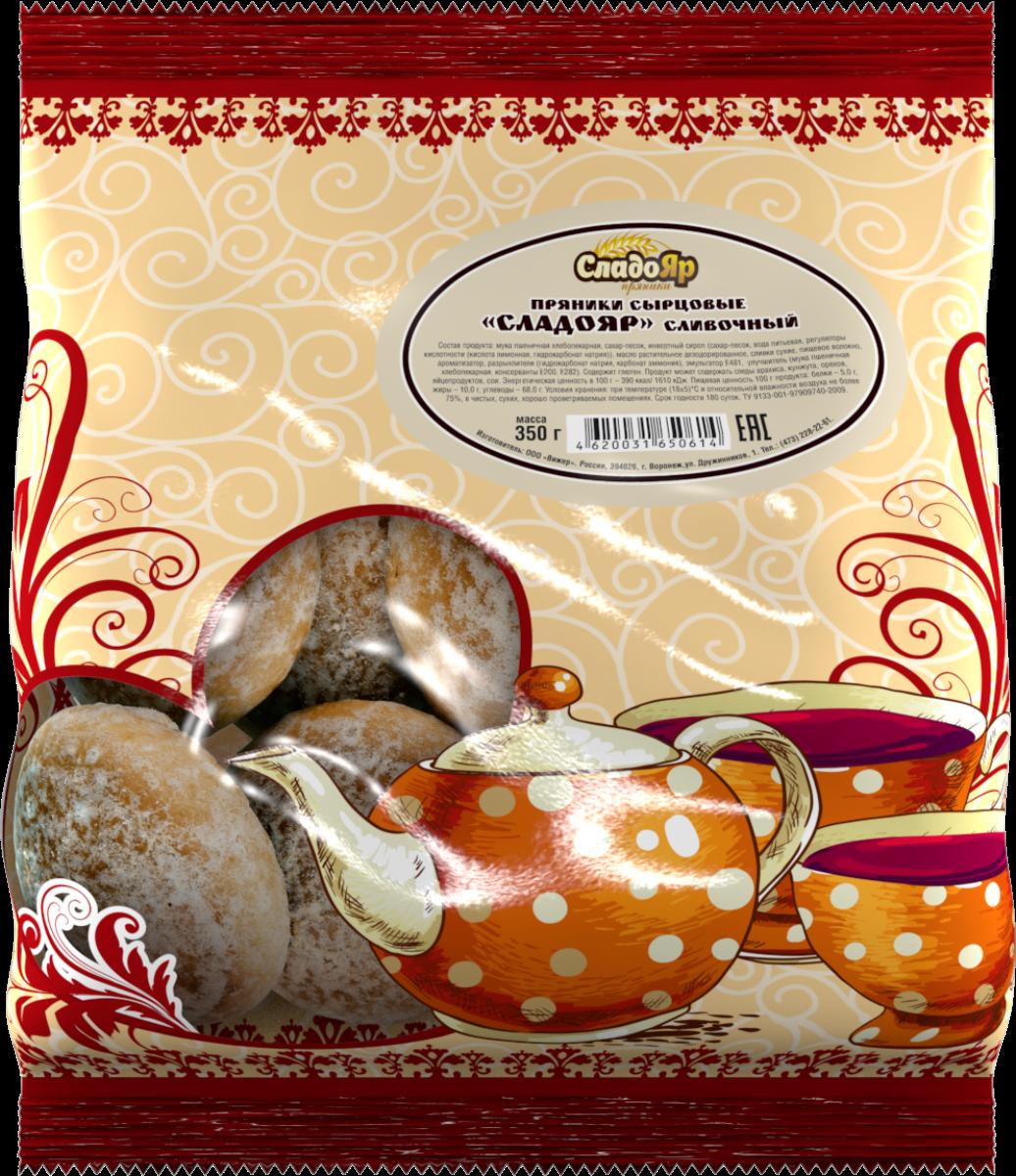 Сладояр пряники сливочный, 350 г4620031650614Воздушные пряники, приготовленные по старинной классической рецептуре с нежным сливочно-ванильным вкусом.