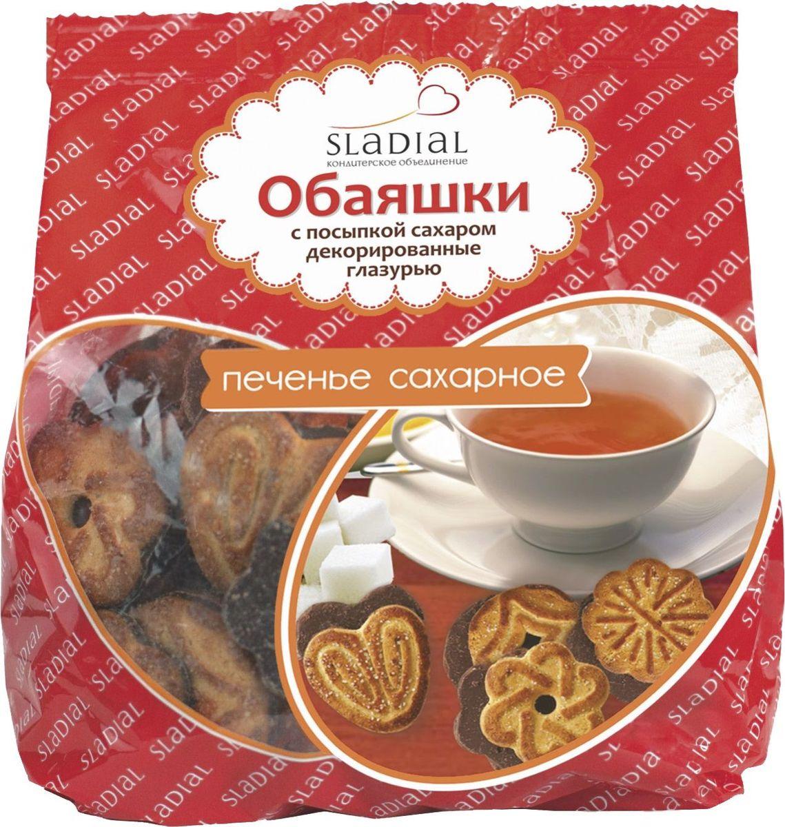 Sladial печенье обаяшки с посыпкой сахаром декорированные глазурью, 375 г4640013456423Миниатюрное посыпанное маком печенье с глазированным дном.