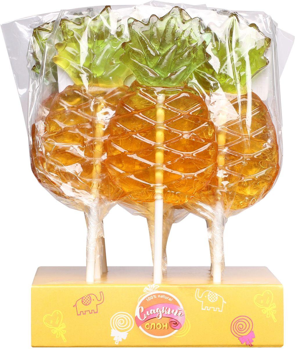 Сладкий слон карамель леденцовая ананас ассорти, 30 г4670013498062Сочный ананас на палочке - солнечное настроение!