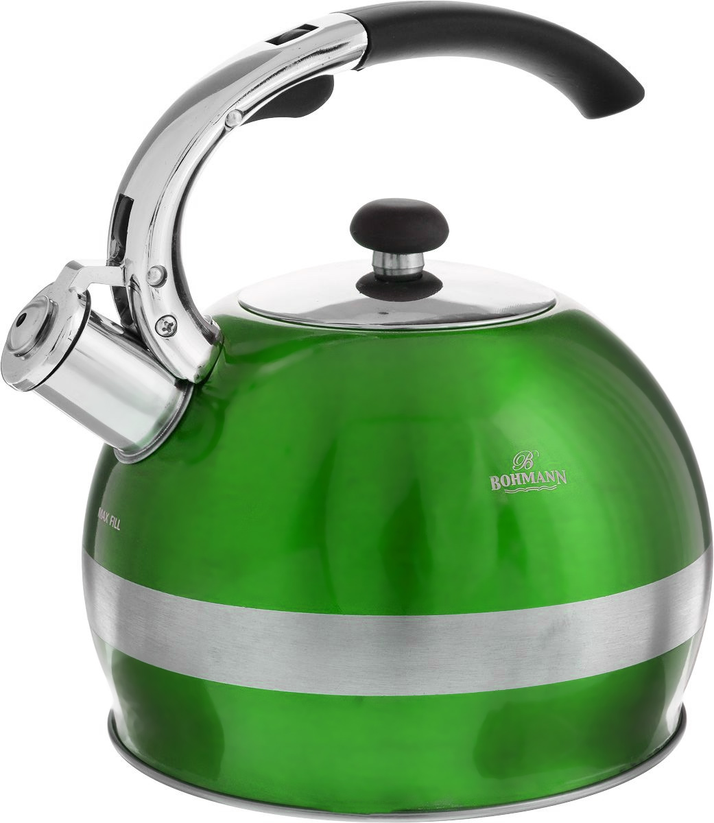 Чайник Bohmann, со свистком, цвет: зеленый, 2,7 л. BH-9995BH-9995_зеленыйЧайник Bohmann изготовлен из нержавеющей стали с матовой и зеркальной полировкой. Высококачественная сталь представляет собой материал, из которого в течение нескольких десятилетий во всем мире производятся столовые приборы, кухонные инструменты и различные аксессуары. Этот материал обладает высокой стойкостью к коррозии и кислотам. Прочность, долговечность и надежность этого материала, а также первоклассная обработка обеспечивают практически неограниченный запас прочности и неизменно привлекательный внешний вид. Чайник оснащен фиксированной удобной ручкой из бакелита черного цвета. Ручка не нагревается, что предотвращает появление ожогов и обеспечивает безопасность использования. Носик чайника имеет откидной свисток для определения кипения. Можно использовать на всех типах плит, включая индукционные. Можно мыть в посудомоечной машине. Диаметр (по верхнему краю): 9,5 см.Высота чайника (без учета ручки): 14,5 см.Высота чайника (с учетом ручки): 23 см.Диаметр основания: 13 см.