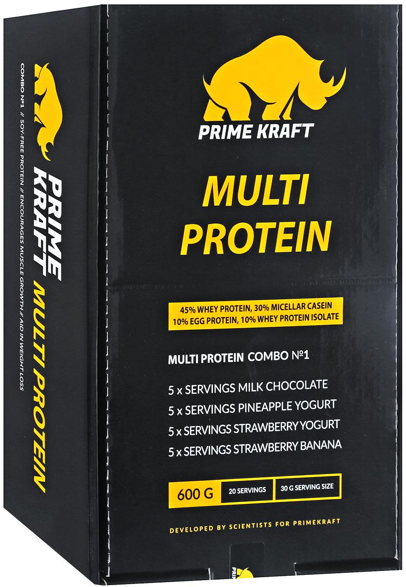 Протеин Prime Kraft Multi Protein Combo №1, 4 вкуса, 20 пакетиков, 600 г4156623Prime Kraft Multi Protein Combo №1 – это смесь 4- максимально сбалансированных белков с разной скоростью усвояемости. Подходит под реализацию любых задач. В Combo №1 входит протеин со вкусом молочного шоколада, клубника-банан, клубничного и ананасового йогурта. Одна упаковка протеина равна одной порции. Это очень удобно и практично, больше не нужно ковыряться в банке в поиске мерной ложки, не нужно думать, куда засунуть протеин, чтобы в течение дня выпить одну или две порции. Теперь вкусное и полезное питание всегда у вас с собой! В сочетании с вариациями режимов нагрузок продукт можно использовать для достижения различных целей:-Формирование сухой мышечной массы и рельефа в соответствующих циклах бодибилдинга, фитнеса;-Сокращение периода восстановления между нагрузками.Состав (молочный шоколад):протеиновая смесь (концентрат сывороточного белка, мицеллярный казеин, изолят сывороточного белка, яичный белок), какао-порошок, ароматизатор, каснтановая камедь, гуаровая камедь, хлорид натрия, ацесульфам К, сукралоза. Пищевая ценность (на 30 г - 1 порция): белки - 22,5 г, жиры - 1 г, углеводы - 2,3 г, калории - 110 ккал.Состав (ананасовый йогурт): протеиновая смесь (концентрат сывороточного белка, мицеллярный казеин, изолят сывороточного белка, яичный белок), ароматизатор, молочная кислота, яблочная кислота, ксантановая камедь, гуаровая камедь, натуральный краситель, хлорид натрия, ацесульфам К, сукралоза. Пищевая ценность (на 30 г - 1 порция): белки - 23,6 г, жиры - 0,8 г, углеводы - 1,8 г, калории - 110 ккал.Состав (клубничный йогурт): протеиновая смесь (концентрат сывороточного белка, мецеллярный казеин, изолят сывороточного белка, яичный белок), ароматизатор, молочная кислота, ксантановая камедь, гуаровая камедь, натуральный краситель, лимонная кислота, хлорид натрия, ацесульфам К, сукралоза. Пищевая ценность (на 30 г - 1 порция): белки - 23,6 г, жиры - 0,8 г, углеводы - 1,7 г, калории - 110
