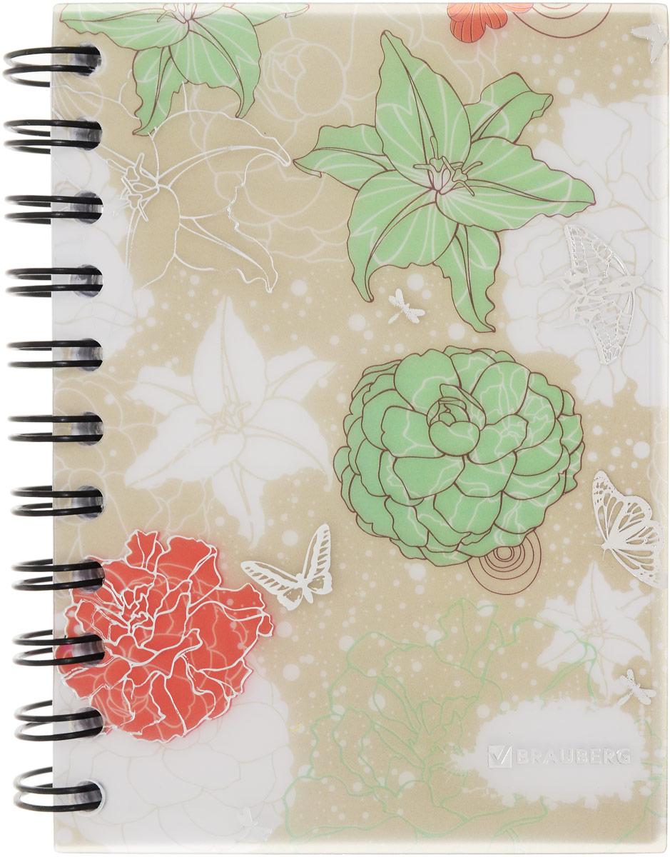 Brauberg Блокнот Цветы 120 листов в линейку цвет зеленый белый красный125383_зеленый, белый, красныйЖенственный блокнот Brauberg Цветы предназначен для записей и заметок с элегантным цветочным дизайном. Пластиковая обложка долго сохраняет привлекательный внешний вид и надежно защищает листы.Внутренний блок состоит из 120 листов белой бумаги в линейку. Блокнот выполнен на гребне.