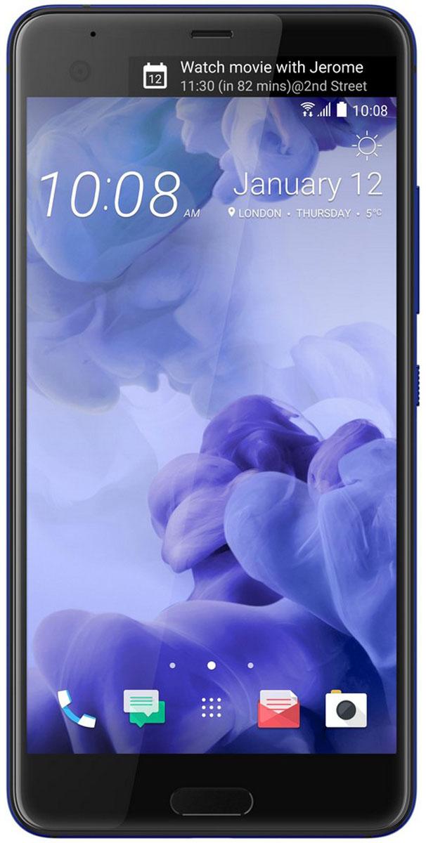 HTC U Ultra 64GB, Sapphire Blue99HALU072-00HTC U Ultra - смартфон с большим экраном 5,7 станет яркой частью вашей жизни. Его уникальный переливающийся дизайн создан, чтобы дать свободу самовыражения. Его инновационный двойной экран ставит ваши приоритеты и удобство во главу угла.При изготовлении корпуса используется особый процесс формовки стекла по краям устройства с применением экстремального давления и высокой температуры. Это не только создает идеальную гармонию стеклянной и металлической поверхностей, но и имитирует эффект поверхностного натяжения, свойственный жидкости.HTC Sense Companion - верный спутник, который постоянно обучается вашим привычкам и действиям, которые вы совершаете каждый день. Он может посоветовать одеться потеплее и выехать на работу чуть раньше, если прогноз погоды указывает на возможность снегопада; он напомнит взять с собой внешний аккумулятор, если в ваших планах значится длительная поездка; он подскажет отличный ресторан в незнакомом городе и поможет забронировать столик. Но главное, он постоянно меняется и совершенствуется, со временем узнавая вас лучше.Второй экран отображает всю необходимую информацию и обновления, не создавая помех твоим основным задачам. Используйте большой экран 5.7 для развлечений и работы, а вызвать избранные контакты, запустить любимые приложения и просмотреть обновления ты сможешь с помощью удобного второго экрана.Функция HTC USonic анализирует строение ушного канала с помощью звуковых импульсов и подстраивает звучание под вас. Почти так же, как профессиональный специалист по настройке звука, только весь процесс происходит в вашем телефоне. Теперь вы действительно можете услышать все детали!В HTC U Ultra встроены четыре всенаправленных микрофона, которые фиксируют полную окружающую звуковую картину для видео или диктофонных записей. Это означает, что при последующем воспроизведении вы сможете услышать звук со всех направлений и испытать необычайно реалистичный эффект погружения. Добро пожаловать в будущее зв