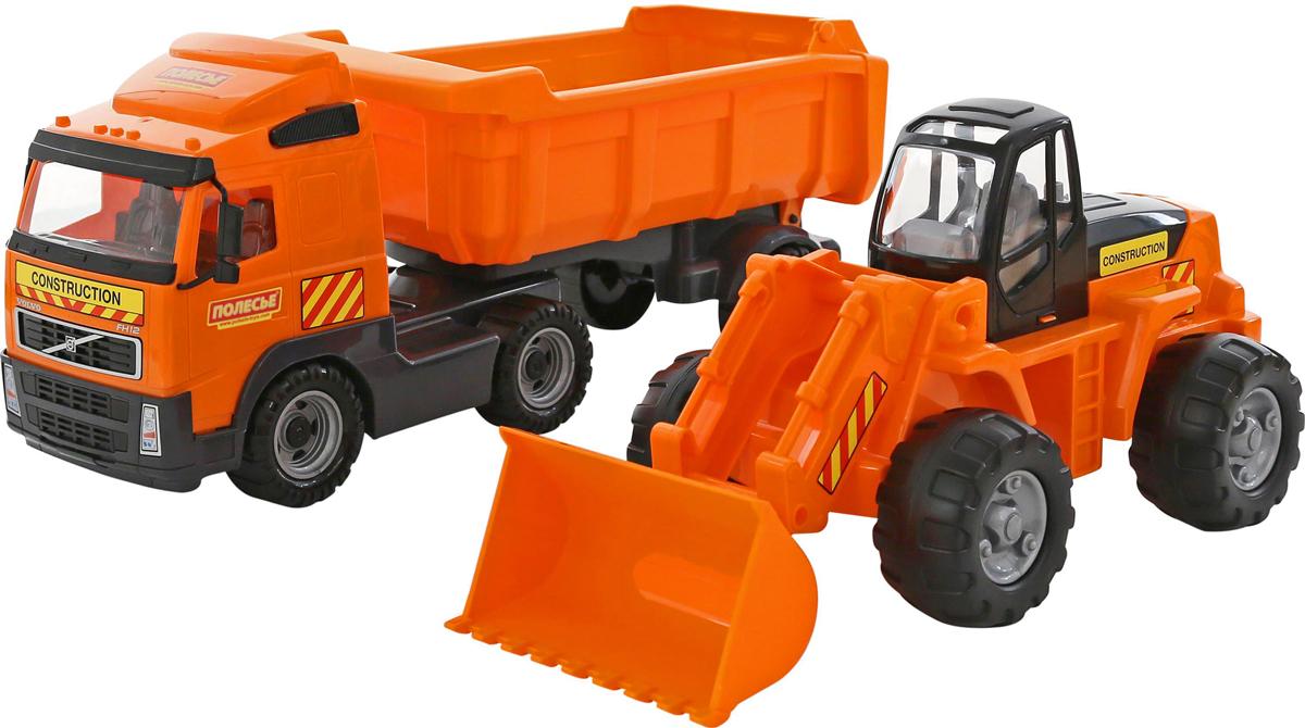 Полесье Набор машинок Самосвал Volvo с полуприцепом Трактор-погрузчик автомобиль пожарный полесье volvo в сеточке 8787