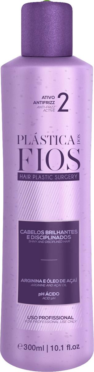Plastica dos Fios Средство для кератинового выпрямления волос Anti Frizz Active, 300 млPA0121Реконструктор – создает эффект естественного разглаживания, делает волосы здоровыми, прямыми и блестящими.