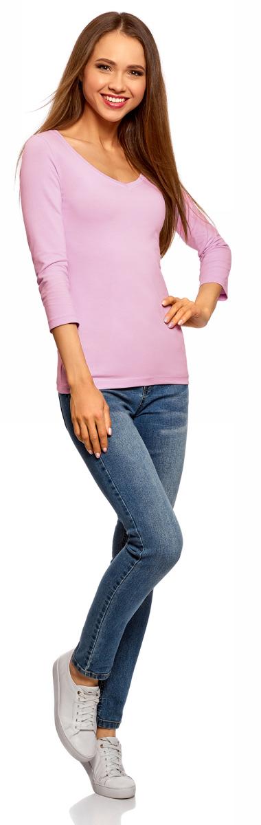 Купить Лонгслив женский oodji Collection, цвет: сиреневый. 24211002B/46147/8000N. Размер XXS (40)