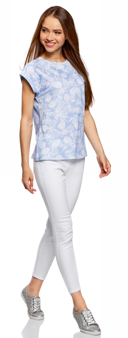 Футболка женская oodji Ultra, цвет: голубой, белый. 14707001-33/46154/7010O. Размер S (44) футболка женская oodji ultra цвет зеленый 2 шт 14701008t2 46154 6a00n размер s 44