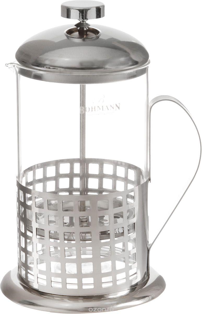 """Френч-пресс Bohmann """"Клетка"""" станет прекрасным выбором для повседневного использования, встречи гостей или небольших вечеринок. Колба, изготовленная их закаленного стекла, сохранит свежесть и аромат напитка. А конструкция френч-пресса, встроенного в крышку, прекрасно отфильтрует чай и кофе от заварочной гущи. Удобная ручка обеспечит надежную фиксацию в руке. Утолщенный ободок колбы повышает прочность и продлевает срок службы  изделия. Насыпьте чай или кофе в стеклянную колбу, добавьте горячей воды и закройте стакан пресс-фильтром. Подождите 3-5 минут, затем медленно опустите пресс-фильтр до упора. Приятного чаепития!Френч-пресс Bohmann """"Клетка"""" позволит быстро и просто приготовить чай или свежий и  ароматный кофе. Объем: 600 мл.Диаметр (по верхнему краю): 9 см. Высота стенки (с учетом крышки): 20 см."""