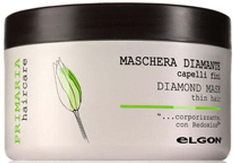 Elgon Primaria Маска-кондиционер для блеска волос Бриллиант Diamond Mask, 500 мл1003060500AЛегкая маска для натуральных и тонких волос. Придает дополнительный бриллиантовый блеск, содержит кератиновые аминокислоты, экстракт водорослей озера Кламат, глицерин и лимонную кислоту для естественного увлажнения волос. Облегчает расчесывание, делает волосы более мягкими.
