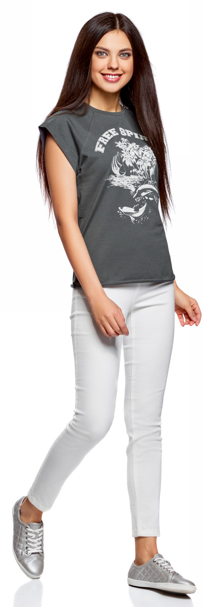 Футболка женская oodji Ultra, цвет: темно-серый, белый. 14707001-47/46154/2512P. Размер M (46)14707001-47/46154/2512PФутболка женская oodji изготовлена из натурального хлопка. Модель выполнена с короткими рукавами и круглой горловиной. Оригинальный крупный принт на груди придает изделию оригинальность.