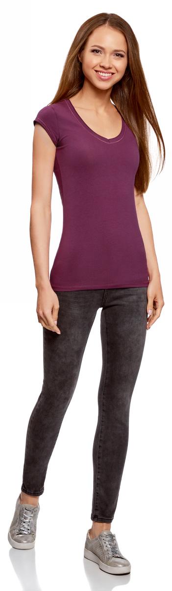 Футболка женская oodji Ultra, цвет: фиолетовый. 14711002B/46157/8300N. Размер XS (42) футболка oodji футболка