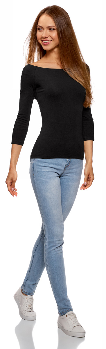 Лонгслив женский oodji Ultra, цвет: черный. 14207007B/46867/2900N. Размер L (48) платье oodji collection цвет черный 73912217 2b 33506 2900n размер l 48