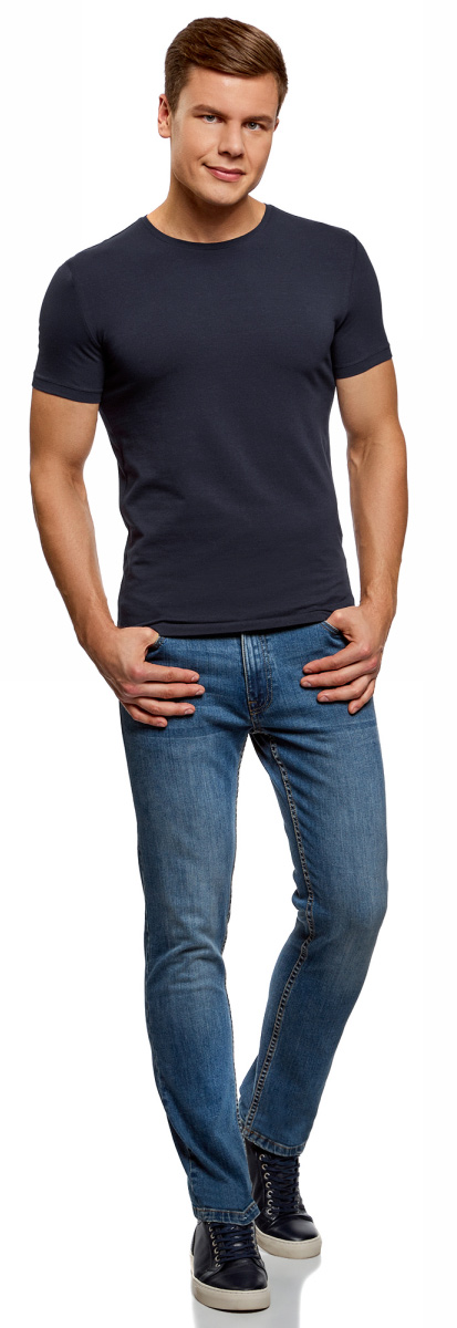 Футболка мужская oodji Basic, цвет: темно-синий, серый, 2 шт. 5B611004T2/46737N/1905N. Размер L (52/54)5B611004T2/46737N/1905NМужская базовая футболка от oodji выполнена из эластичного хлопкового трикотажа. Модель с короткими рукавами и круглым вырезом горловины. В комплекте 2 футболки.