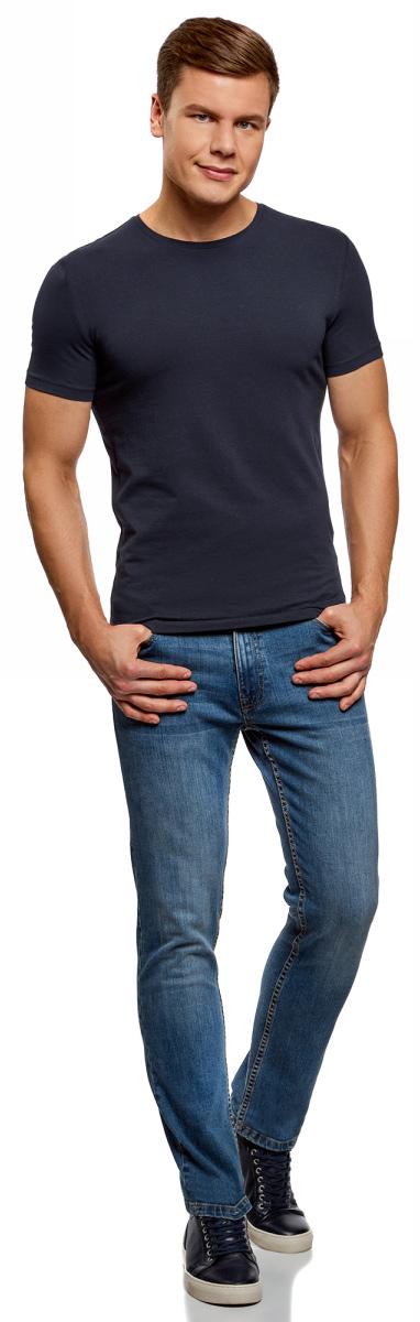 Футболка мужская oodji Basic, цвет: черный, темно-изумрудный, 2 шт. 5B611004T2/46737N/1907N. Размер XS (44)5B611004T2/46737N/1907NМужская базовая футболка от oodji выполнена из эластичного хлопкового трикотажа. Модель с короткими рукавами и круглым вырезом горловины. В комплекте 2 футболки.