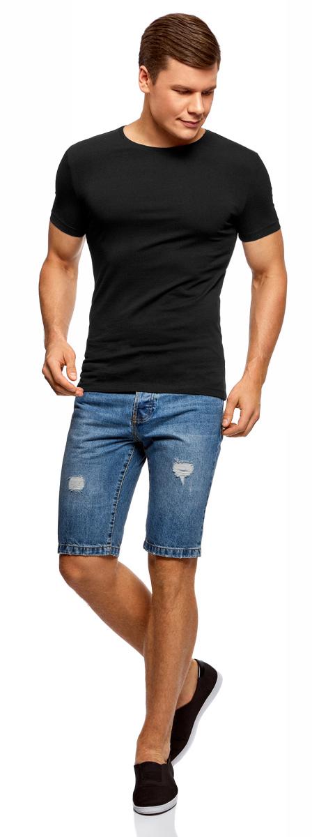 Футболка мужская oodji Basic, цвет: черный, 2 шт. 5B611004T2/46737N/2900N. Размер L (52/54)5B611004T2/46737N/2900NМужская базовая футболка от oodji выполнена из эластичного хлопкового трикотажа. Модель с короткими рукавами и круглым вырезом горловины. В комплекте 2 футболки.