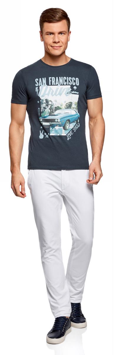 Футболка мужская oodji Lab, цвет: темно-синий. 5L611399M/39485N/7975P. Размер S (46/48) платье oodji collection цвет черный белый 24001104 1 35477 1079s размер l 48