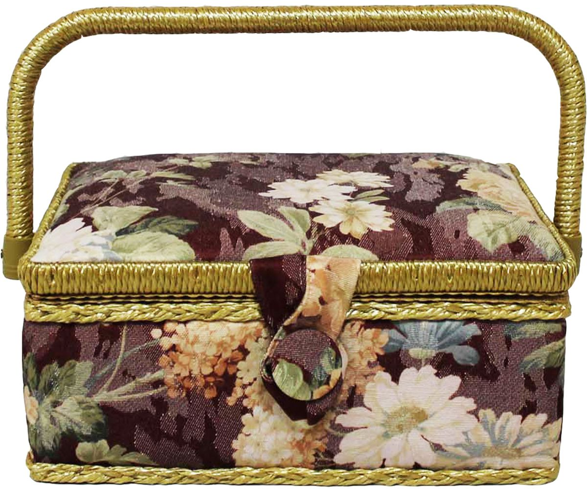 Шкатулка для рукоделия Grace & Glamour, 14,5 х 22 х 11,5 см. BN4721BN4721Гобеленовая шкатулка из коллекции Цветы на бордовом выполнена с использованием натуральных материалов: каркас из дерева обтянут дизайнерской тканью (100% хлопок) с мягким наполнителем. Внутри шкатулка отделана искусственным шелком, имеется кармашек на резинке и шелковая игольница с двумя булавками. Шкатулка оснащена пластиковым вкладышем с 4 отсеками для мелочей. Ручка и края отделаны натуральным ротангом, который не только украшает шкатулку, но и оберегает края. Шкатулка поможет рукодельнице сорганизовать свое рабочее место, а значит, сократить время на создание своего творения. А кроме того, украсит любой интерьер и будет радовать свою обладательницу долгие годы благодаря качественному исполнению и материалам. Прекрасный подарок любой женщине!Размер вкладыша: 20х12,5х3 см.