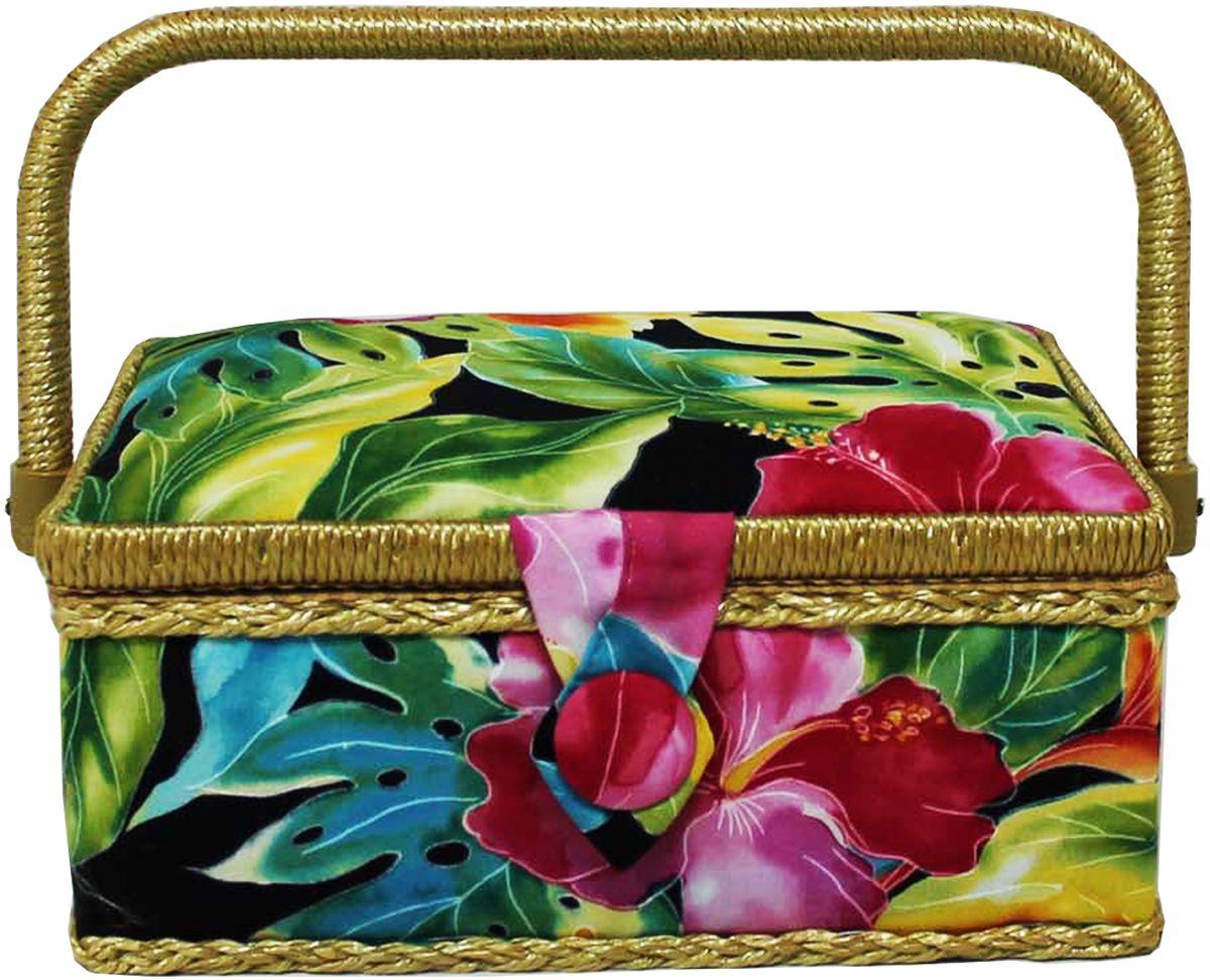 Шкатулка для рукоделия Grace & Glamour, 14,5 х 22 х 11,5 см. BN4756BN4756Интерьерная шкатулка из коллекции Тропические цветы выполнена с использованием натуральных материалов: каркас из дерева обтянут дизайнерской тканью Robert Kaufman (100% хлопок) с мягким наполнителем. Внутри шкатулка отделана искусственным шелком, имеется кармашек на резинке и шелковая игольница с двумя булавками. Шкатулка оснащена пластиковым вкладышем с 4 отсеками для мелочей. Ручка и края отделаны натуральным ротангом, который не только украшает шкатулку, но и оберегает края. Шкатулка поможет рукодельнице сорганизовать свое рабочее место, а значит, сократить время на создание своего творения. А кроме того, украсит любой интерьер и будет радовать свою обладательницу долгие годы благодаря качественному исполнению и материалам. Прекрасный подарок любой женщине!Размер вкладыша: 20х12,5х3 см.