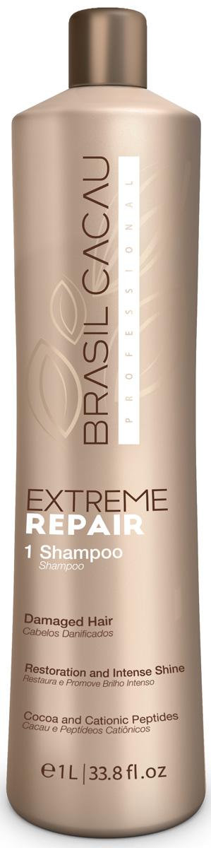 Brasil Cacau Шампунь Extreme Repair, 1000 млPA0185Полное восстановление, укрепление, питание изащита волос, благодаря входящим всостав натуральным ингредиентам. Питательные вещества проникает вструктуру волоса, укрепляя его изнутри. Идеально подходит для поврежденных волос, мягко очищает, увлажняет и восстанавливает.