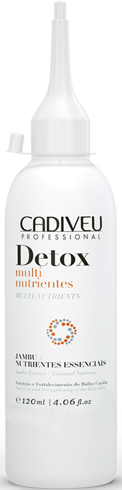 Cadiveu Питательный экстракт Detox Multinutrientes, 120 млPA0072Питательный экстракт очистит кожу головы от загрязнений (кератиновых пробок). Волос будет выглядеть объемнее после укладки. Глубоко питает, наполняет энергией изнутри. Придает ощущение свежести и легкости. В состав входят успокаивающие и очищающие экстракты, которые положительно влияют на состояние кожи головы.