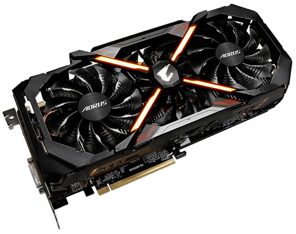 Gigabyte AORUS GeForce GTX 1080 Ti Xtreme Edition 11GB видеокартаGV-N108TAORUS X-11GDВидеокарта Gigabyte Aorus GeForce GTX 1080 Ti Xtreme Edition удовлетворит все требования опытных игроков. В основе видеокарты Gigabyte Aorus GeForce GTX 1080 Ti Xtreme Edition лежит новый флагманский графический процессор с архитектурой NVIDIA Pascal. Видеокарта имеет потрясающую игровую производительность, память следующего поколения 11 Гб/с GDDR5X и фреймбуфер 11 ГБ.Технология NVIDIA GameWorks поддерживает последние требования современных мониторов, включая VR, мониторы с ультра высоким разрешением, так же обеспечивает плавный игровой процесс, кинематографический опыт, возможность захвата изображения 360 даже в VR. Откройте для себя новое поколение VR, с низким показателем задержки, наушниками последнего поколения, благодаря технологии NVIDIA VRWorks. VR аудио (звуковые эффекты), реалистичная графика и физика предметов, позволяют вам прочувствовать и услышать каждый момент.Система охлаждения WINDFORCE Stack оснащена тремя вентиляторами 100 мм с уникальным дизайном лопастей, медными композитными теплотрубками, технологией прямого контакта. Все это позволяет получить эффективный уровень теплорассеивания для высокопроизводительной системы с низкой температурой. Средний вентилятор вращается в обратном направлении, чтобы оптимизировать поток воздуха для более эффективного отвода тепла. Используется полу-пассивный режим работы, вентиляторы останавливают свою работу, если температура чипа не высокая, или нет достаточной нагрузки. На торце видеокарты расположен индикатор работы вентилятора.Металлическая задняя пластина усиливает конструкцию видеокарты, защищает элементную базу от внешнего механического воздействия и повреждений.Видеокарта Gigabyte Aorus GeForce GTX 1080 Ti Xtreme Edition оснащена 16,8 млн. вариантами настройки подсветки и многочисленными световыми эффектами.Как собрать игровой компьютер. Статья OZON Гид