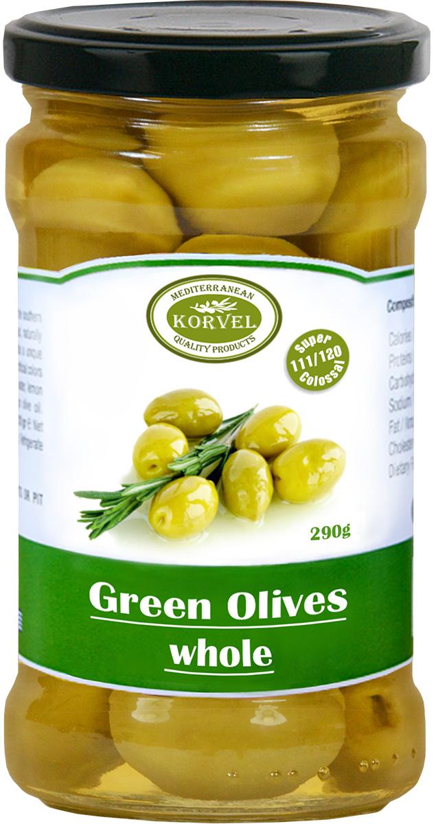 Korvel натуральные зеленые оливки с косточкой колоссал, 290 г103212000363Эти оливки собраны вручную и затем, в соответствии с греческими традиционными методами, вымочены в морской соли. Богатый вкус зеленых оливок идеально подходит для закуски.