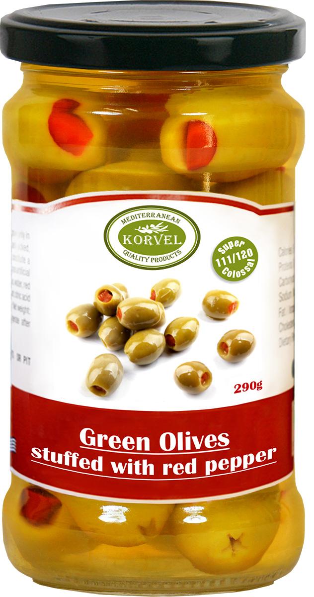 Korvel натуральные зеленые оливки фаршированные красным перцем супер колоссал, 290 г korvel натуральные зеленые оливки фаршированные миндалем супер колоссал 290 г