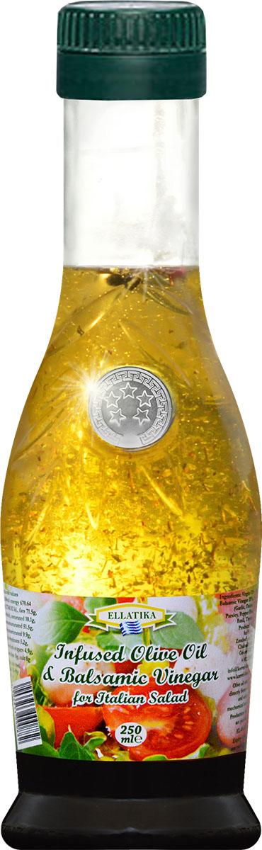 Ellatika ароматное оливковое масло для итальянского салата, 250 мл оливковое масло ellatika для итальянского салата нерафинированное с бальзамическим уксусом 250 мл греция