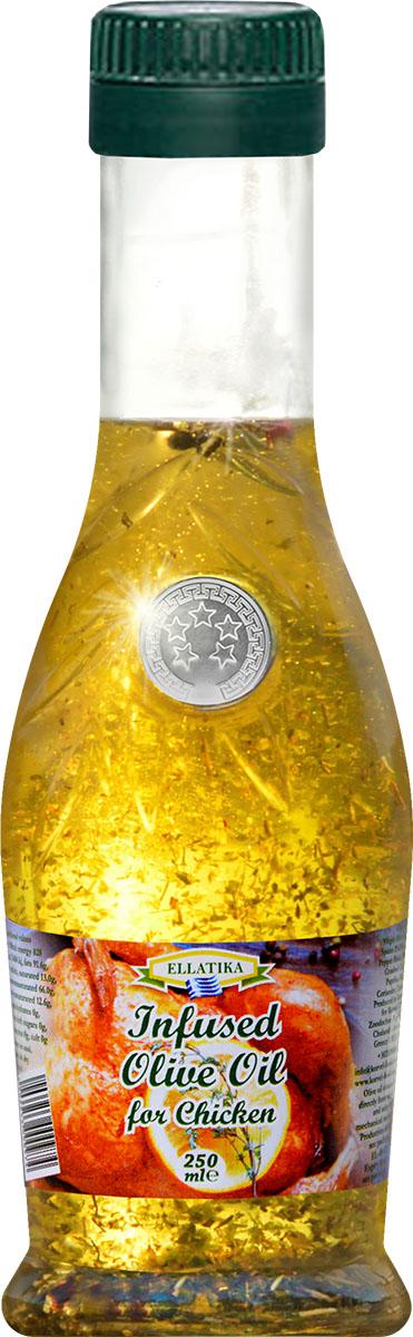 Ellatika ароматное оливковое масло для курицы, 250 мл102213000974Привлекательное сочетание 100% нерафинированного оливкового масла холодного отжима и греческих специй и приправ для превосходного вкуса блюд из курицы.