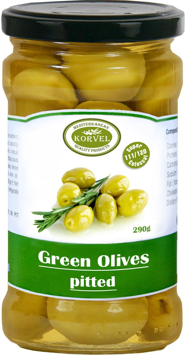 Korvel натуральные зеленые оливки без косточки колоссал, 290 г korvel натуральные зеленые оливки фаршированные чесноком колоссал 290 г