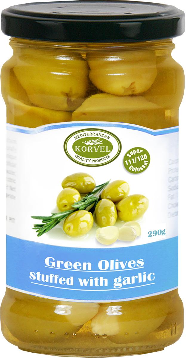Korvel натуральные зеленые оливки фаршированные чесноком супер колоссал, 290 г korvel натуральные зеленые оливки фаршированные миндалем супер колоссал 290 г