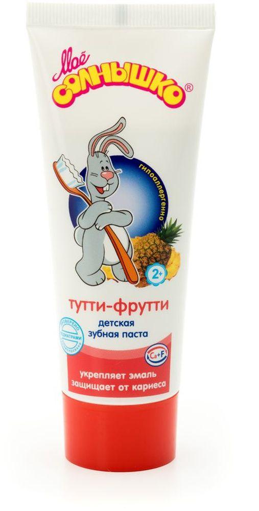 Мое солнышко Зубная паста детская, тутти-фрутти, 100 г355506341Обладает мягким очищающим действием. Хорошо пенится. Не содержит сахар. Оптимальное содержание фтора исключает передозировку при случайном проглатывании. Отличный вкус и аромат пасты понравится детям и поможет привить им привычку регулярно чистить зубы. Клинически проверено и рекомендовано ФГУ МНИИ Педиатрии и детской хирургии Минздрава России.